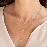 Layered Necklace Set of 3 - Simple Gold Satellite Chain - Silver Nugget Bead Bar - Gold Crescent Moon Pendant
