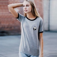 Women Fashion Casual Round Neck Short Sleeve Patchwork Embroidery T Shirt Tops