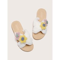 Flower Appliques Criss Cross Fluffy Slippers
