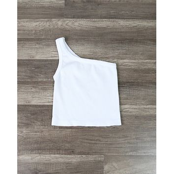 Solid One Shoulder Ribbed Crop Top in White