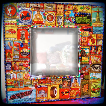 Funky wall art  Eclectic Mirror indian matchbox by KitschyRitch
