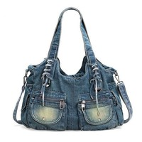 Large Capacity Vintage Denim Jeans Cross-Body/Shoulder Bag