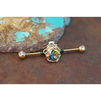 Octopus Gold Industrial Barbell 14g or 16g