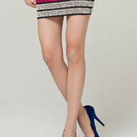 Multi Colored Elastic Striped Knit Hip Skirt