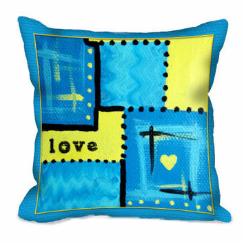 Abstract Love Art Throw Pillow in turquoise and yellow