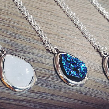 Silver tone teardrop druzy necklace
