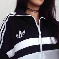 Adidas Women Fashion Zip Cardigan Jacket Coat Sweatshirt