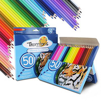 Thornton's Art Supply Soft Core 50 Piece Artist Grade High Quality Colored Pencil Set, Assorted Colors