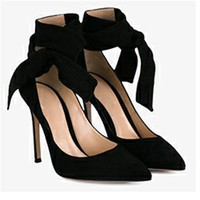 Velvet Pumps with Thick Ankle Tie 2 Colors
