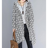 FENDI Fashionable Women Loose Hooded Cardigan Jacket Coat Windbreaker White