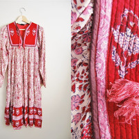 Vintage womens 1960s India Cotton Gauze Boho Hippy Dress Quilted Font Free Style