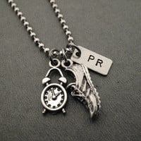 Time To Run a PR Necklace/Bracelet/Key Chain/Bag Tag - Shoe Charm, PR Charm, Pewter Clock Charm on Stainless Steel Ball Chain
