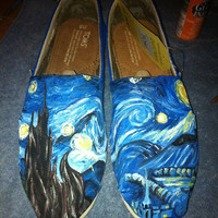 Hand Painted Custom TOMS Shoes- Starry Night, Vincent Van Gogh