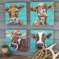 Cow Paintings On Recycled Wood Panels (Set of 4)