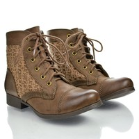 Round Toe Crochet Lace Up Low Heel Combat Ankle Booties