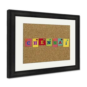 Framed Print, Chennai Written On Colorful Notes Pinned On Cork Board