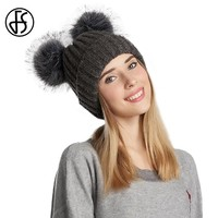 FS Winter Beanie For Women Wool Skullies Beanies Warm Cap Thick Knitted Caps Double Pom Poms Knitting Bonnet With Pompns