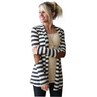 snowshine #1501  Women Casual Long Sleeve Striped Cardigans Patchwork Outwear free shipping