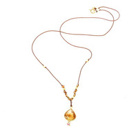 Citrine Bezeled Pendant w Amber Sapphire and Gold Beads Knotted on Silk Cord, Fall Necklace, Minimalist Jewelry