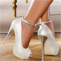 Crystal Buckle Strap Thin High-heeled Pumps