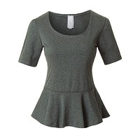 Fitted Scoop Neck Short Sleeve Peplum Top with Stretch (CLEARANCE) (CLEARANCE)