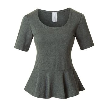 Fitted Scoop Neck Short Sleeve Peplum Top with Stretch (CLEARANCE)
