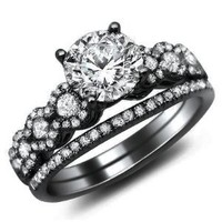 1.26ct Round Diamond Engagement Ring Bridal Set 18k Black Gold Rhodium Plating Over White Gold with a .50ct Center Diamond and .76ct of Surrounding Diamonds