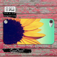 Sunflower Flower Yellow Cute Ombre Cool Tumblr Inspired Case iPod Touch 4th Generation or iPod Touch 5th Generation Rubber or Plastic Case
