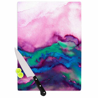 "Ebi Emporium ""Winter Waves 2"" Pink Watercolor Cutting Board"