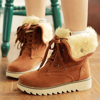 Hot style thickened plush warm boots with double straps and thick soles