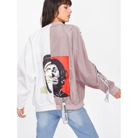 Multicolor Stand Collar Colorblock Oversized Jacket