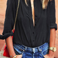 Black Lapel Collar Long Sleeve Blouse not available