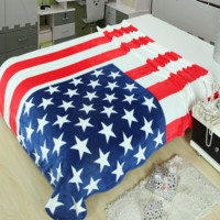 Super Soft American Flag Warm Air Conditioning Throw Blanket for Bedroom Living Rooms Sofa