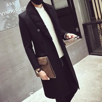 Men's Double Breasted Long Coat