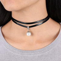 Double Layer Black Leather Choker with Pearl
