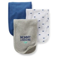 Carter's Baby 3 Pack Burp Cloths Whale ' MOMMY LOVES ME '