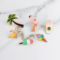 Trendy Coffee Banana Flamingo Coconut Trees Popsicle Ice Cream Brooch Button Pins Denim Jacket Pin Badge Jewelry Gift for Kids AT_94_13