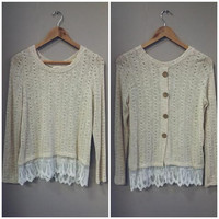 An Oatmeal and Lace Top