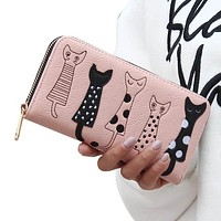 Luxury High Quality PU Leather Cat Cartoon Embroidered Wallet