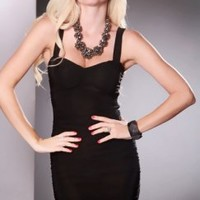 Black Ruched Short Sleeve Sexy Mini Party Dress
