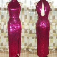 Vintage 80s HOT PINK Sequin Full Length Wiggle Cocktail Dress S/M Sz 6 Formal Bombshell Trophy Gown