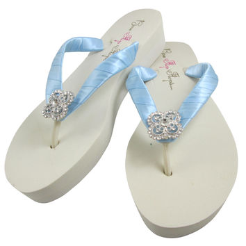 Millennium Blue Bridal Flip Flops with Square Filigree Rhinestone on Ivory or White Wedges