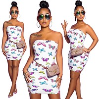 2020 New Products Women's Sexy Wrapped Chest Butterfly Printed Buttock Dress