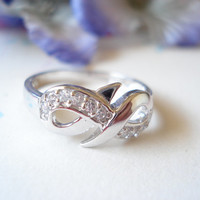 """Engrave any messge, Infinity Ring with CZ, Sterling Silver Custom Ring""""  everyday, wedding, best friend, birthday, mother's day gift"""