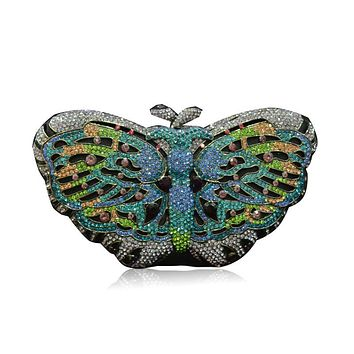 Full Crystal Evening Clutch Butterfly Rhinestone Evening Handbags Clutches