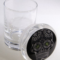 Stash Jar - Glass Pop Top - Black Sugar Skull Design - Stay Fresh Herbs 1/6 oz.
