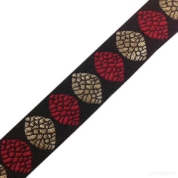 Jacquard Ribbon / Trim / Lace - Tree Pattern - Red, Black Gold Ribbon for Dresses, Sari  and more