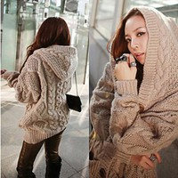 Women'S Loose Pocket Knitted Hooded Sweater Coat