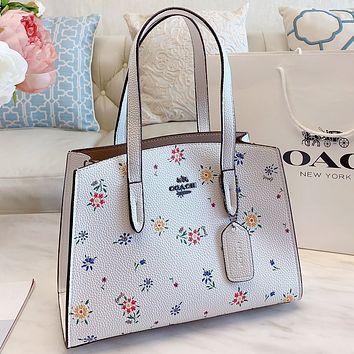 COACH New fashion floral leaf leather shoulder bag crossbody bag handbag White