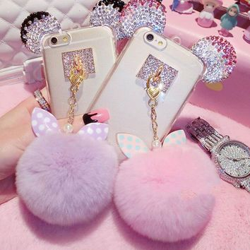 Fur pom pom mouse iphone phone case